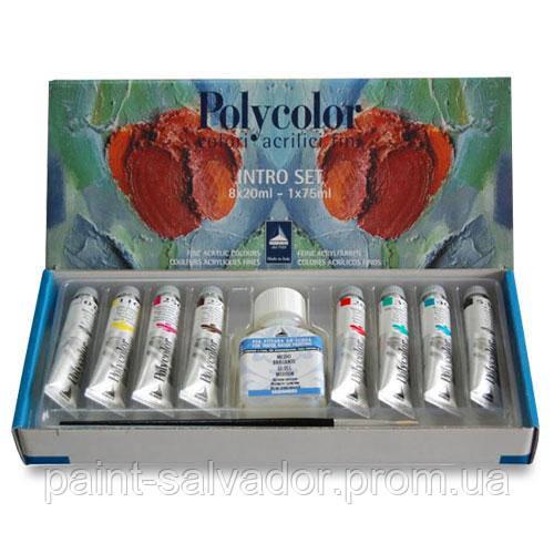 Набор акриловых красок Polycolor 058 8 цветов по 20 мл картонная коробка Maimeri Италия