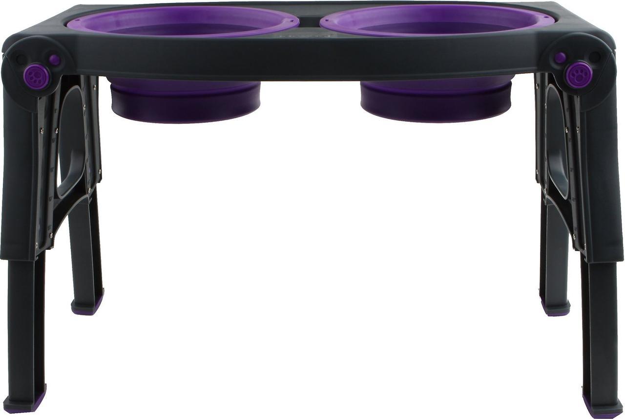 Dexas Pet Feeder 2 х 960 мл - двойная миска на подставке c регулируемыми ножками для собак (фиолетовый)