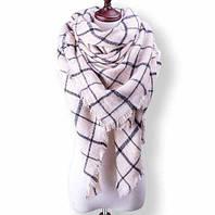 Тёплый женский шарф клетчатый