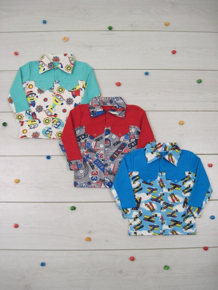 Рубашка детская теплая байковая для мальчика 01-1454, р.р.26-34