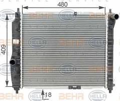 Радиатор охлаждения Chevrolet Aveo (1.2-1.6) 480*410мм по сотах