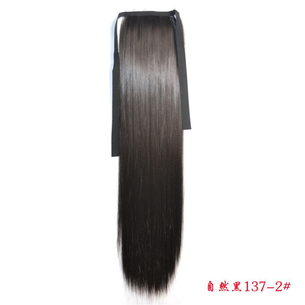 Хвост накладной на ленте из искусственных термо-волос оттенок №1в черно-коричневый