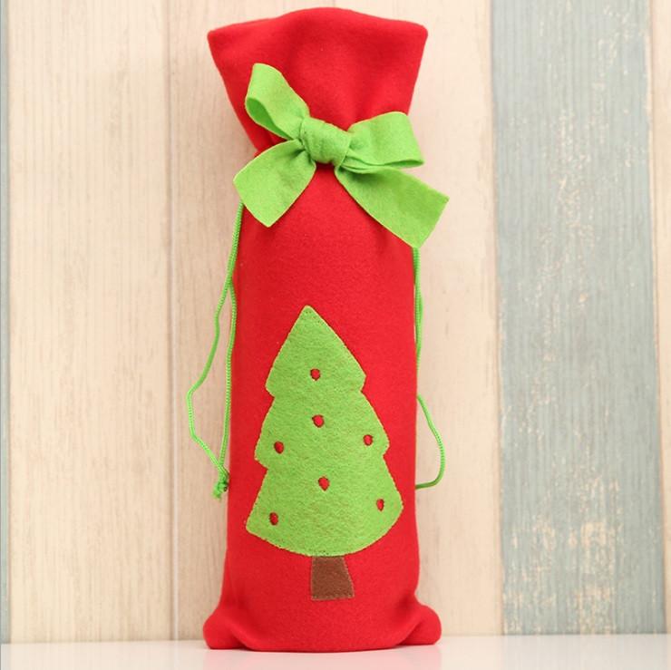 Новогоднее украшение для бутылки мешочек с елочкой