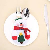 Украшение новогоднее для столовых приборов снеговик