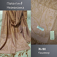 Палантин F НЕЗНАКОМКА, кашемир, 70х180, цв.светло-розовый и песок