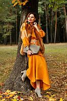Женское платье-вышиванка национальное горчичного цвета (П16/8-251), фото 1