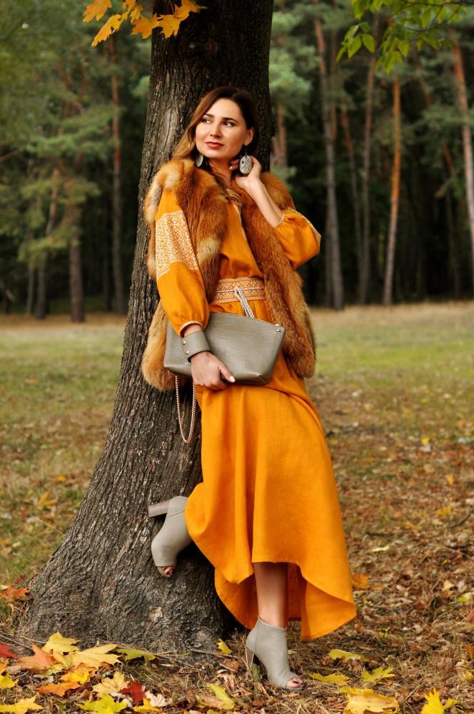 Женское платье-вышиванка национальное горчичного цвета (П16 8-251) -  Патриотический c0c41bce68f40