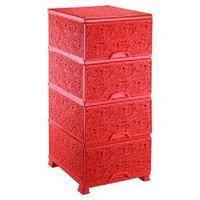 Комод пластиковый ажур красный Элиф  4 отделения Турция