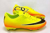 Детские футбольные бутсы Nike Mercurial Victory CR7 FG Volt/Black/Citrus, фото 1