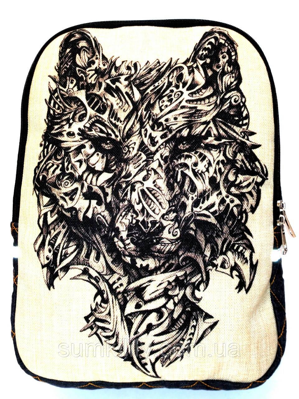 Джинсовый рюкзак Волк