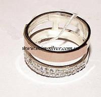 Двойное кольцо с цирконами Орион