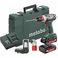 Аккумуляторный шуруповерт Metabo BS 18 Quick + угловая насадка+набор бит 9 шт.