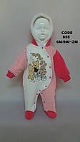 Детский тёплый комбинезон велюр+ махра с капюшоном и аппликацией медвежонка для девочек до 1 года