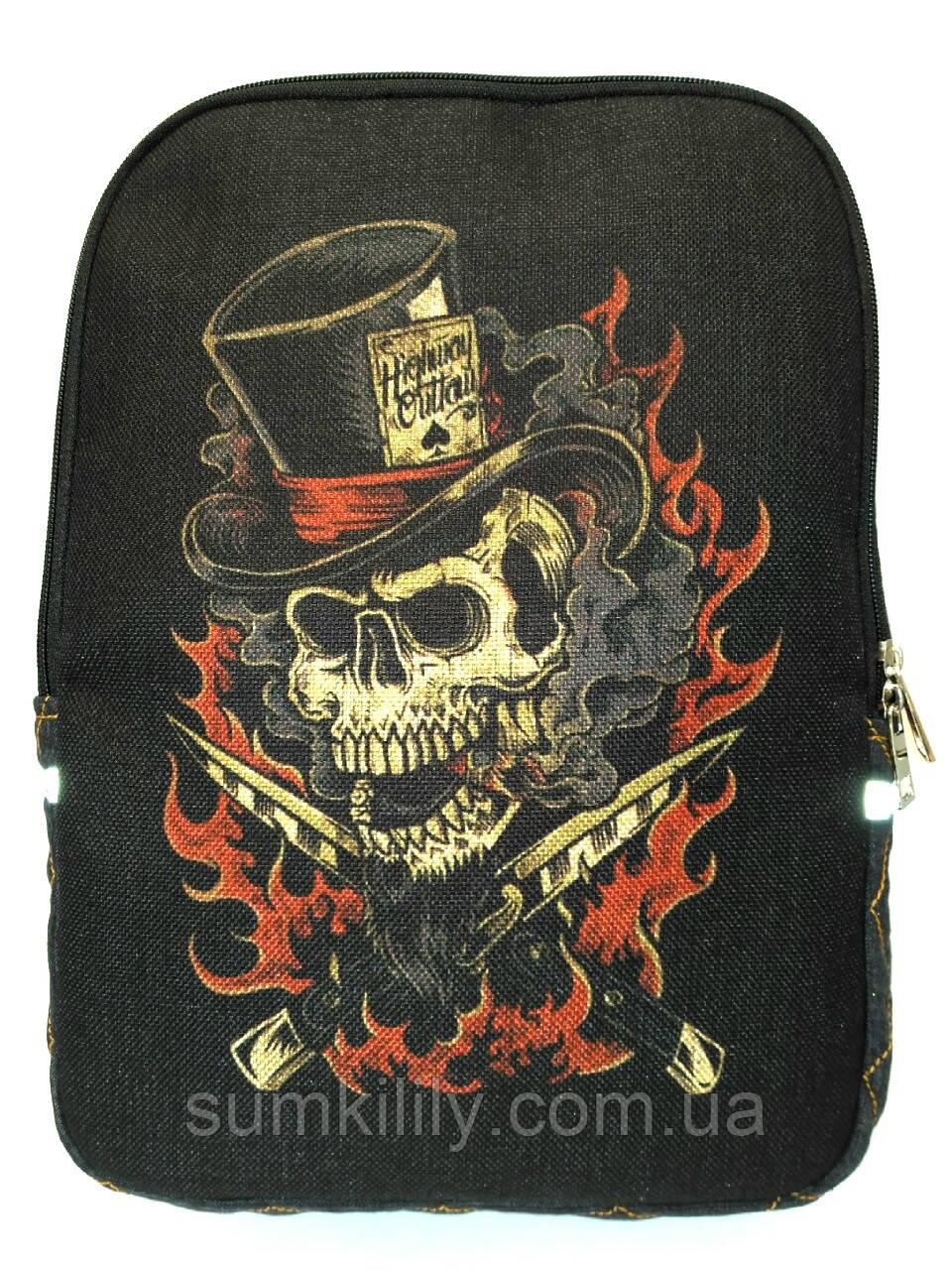 Джинсовый рюкзак Череп 4