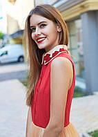 Платье с аппликацией в виде алых губ M, красный