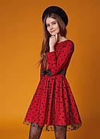 Повседневное Платье в горошек во французском стиле M, красный