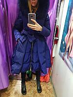 Пуховик-платье с натуральным мехом 2018