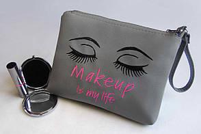 "Косметичка з вишивкою ""Makeup is my life"" №02 колір на вибір"
