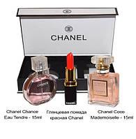 Подарочный набор от CHANEL ( два парфюма по 15 мл + помада )