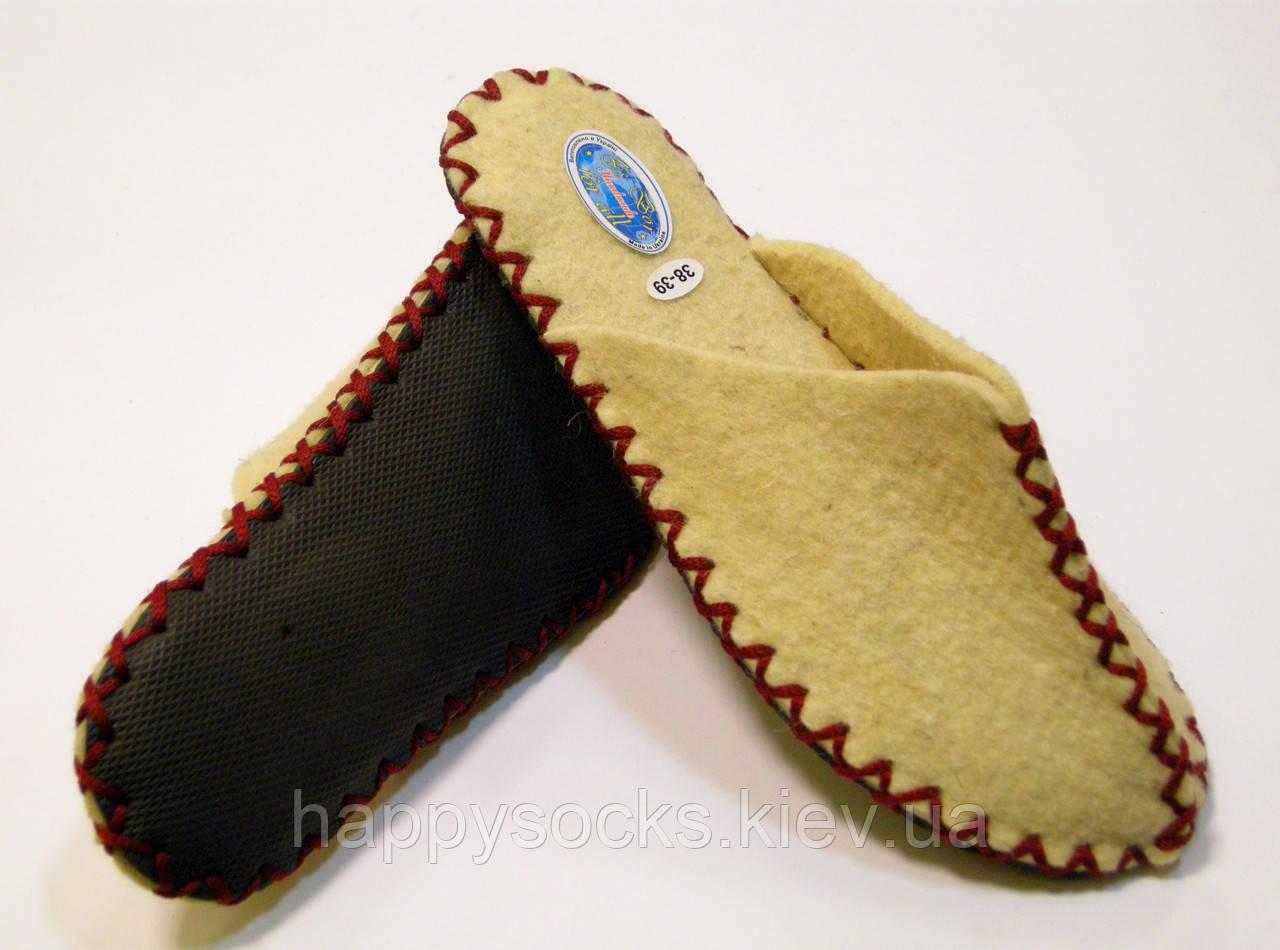 Комнатные войлочные тапочки из натуральной шерсти женские с бордовым шнурком