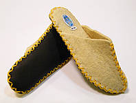 Войлочные шерстяные тапочки женские с желтым шнурком