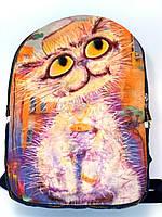 Джинсовый Рюкзак Белая кыця, фото 1
