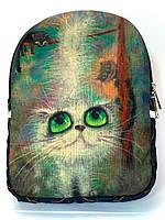 Джинсовый Рюкзак Снежная зеленоглазая кыця, фото 1