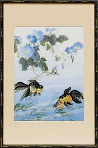 """Набор для вышивания крестом """"Рыбки с синими цветами"""""""