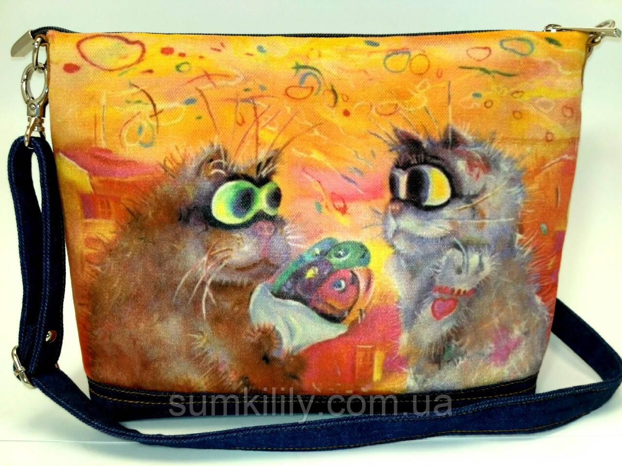 Джинсовая сумочка Букет