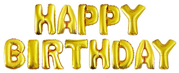 """Шары буквы фольгированные """"Happy Birthday"""". Цвет: Золото. Размер: 40см."""