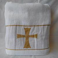 Белое крестильное полотенце крыжма с золотом
