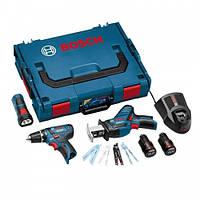 Набор Аккумуляторный шуруповерт Bosch GSR 10,8-2-LI Professional + сабельная пила GSA 10,8 V-LI + фонарь GLI 10,8 V-LI + L-Boxx