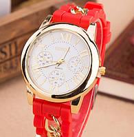 Часы Женева с силиконовым ремешком и цепочкой Красные