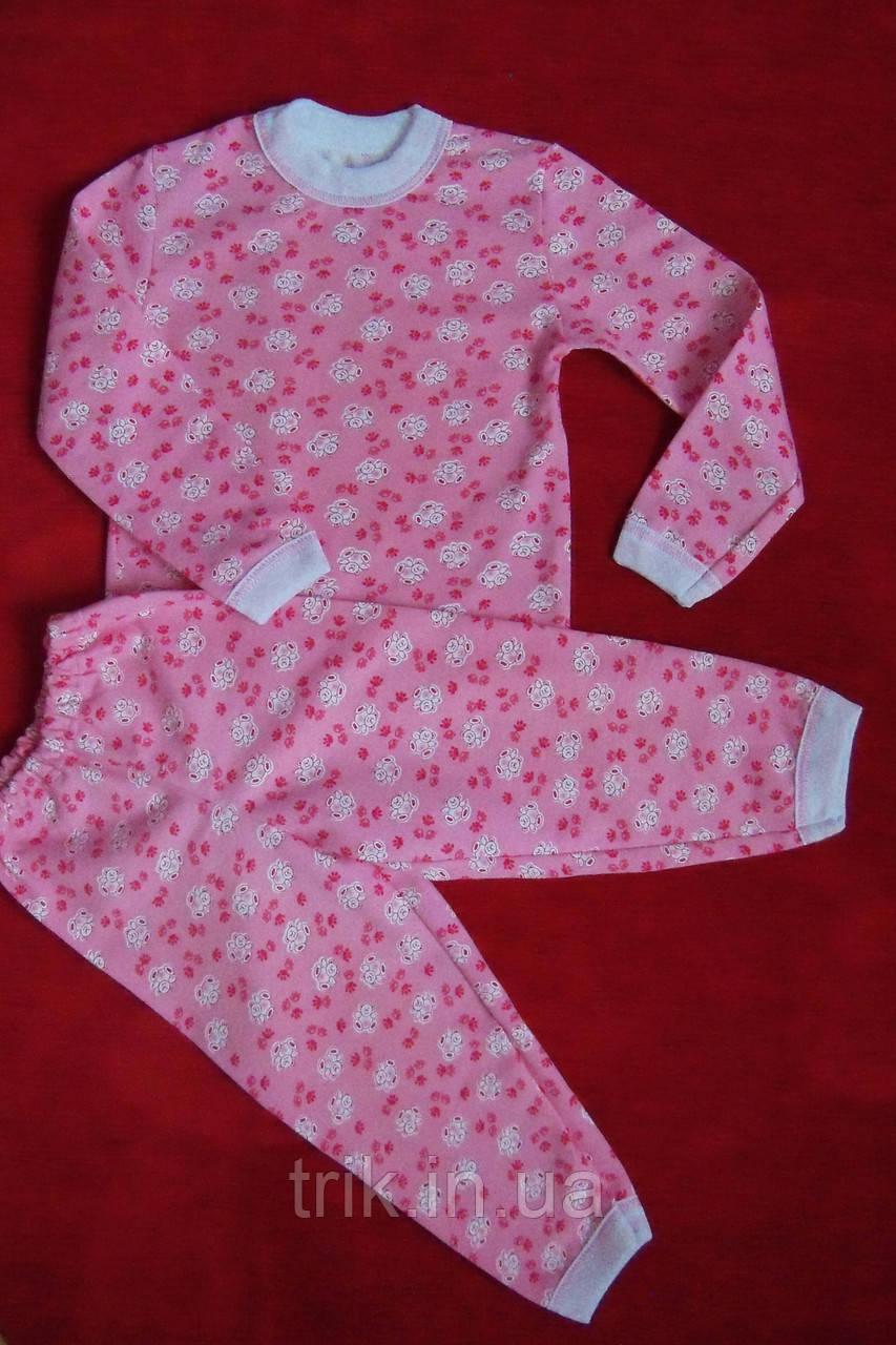 Детская пижама теплая рисунок мишки на розовом