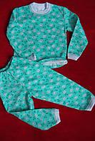 Детская пижама теплая рисунок мишки на зеленом