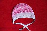 Чепчик детский теплый рисунок мишки на розовом