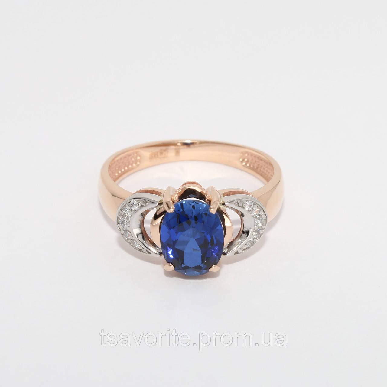 Золотое кольцо с искусственным сапфиром НХК-29