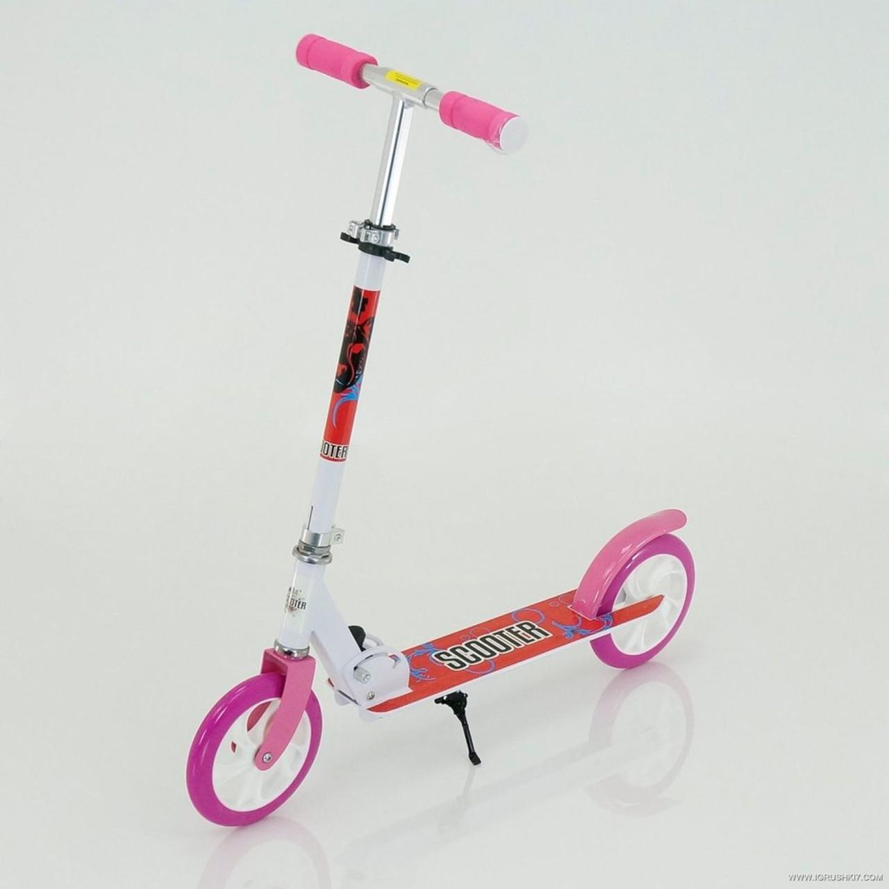 """Двухколёсный детский самокат Scooter """"Sport"""" 460 алюминиевый, Бело-розовый"""