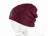 Бордовая шапка зимняя вязаная молодежная