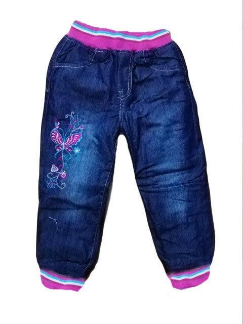Детские теплые джинсы для девочки на манжетах 122
