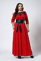 Изысканное длинное женское платье с поясом красного цвета
