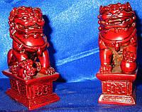 Фигурки Собаки Фу пара каменная крошка коричневые