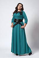 Изысканное длинное женское платье с поясом бирюзового цвета