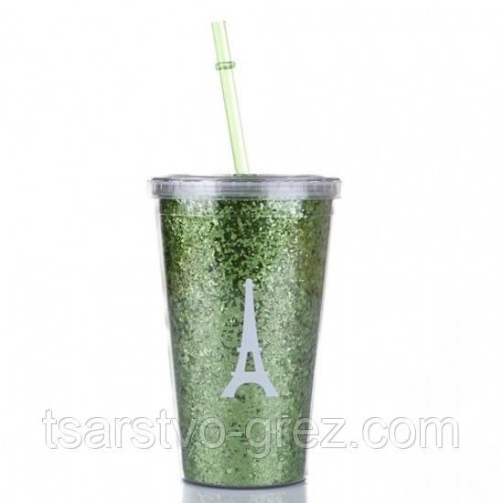 Стакан с крышкой и трубочкой Eiffel Tower Green