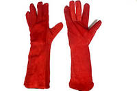 Перчатки крага серая,красная длиная