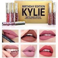 Набор жидких матовых губных помады Kylie Birthday Edition, Кайли Эдишн (6 штук, цветов), набор губной помады