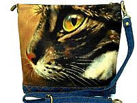 Джинсовая стеганная сумочка Полосатик  , фото 1