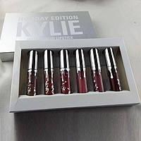 Набор губных помады Kylie Holiday Edition Silver, Кайли (6 штук, цветов), набор губной помады