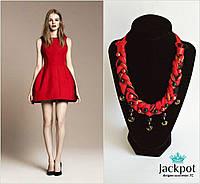 Дизайнерське червоне кольє з бусинами + сережки китиці в ПОДАРУНОК!