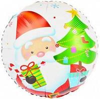 """Шар воздушный фольгированный  Новогодний """" Дед Мороз с елочкой """" диаметр 45 см."""
